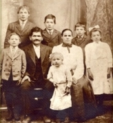 Back row:Joseph, Michael and Frank Mocek - Middle row:John, Simon,Anastasia and Mary Mocek - Front:Antoinette Chwastek